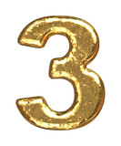 Golden font. Number three. poster