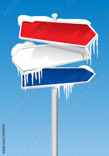 Frozen Signpost With Snow And Icicles On It