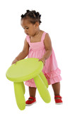 African baby catching the stool in the nursery poster