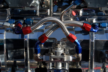 Carburators and Fuel Lines on an American Hotrod engine.