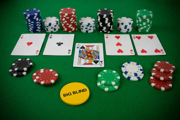 Poker set with chips and cards on the green table