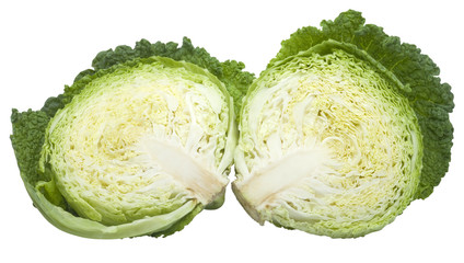 nice fresh sliced cabbage with clipping path isolated over white
