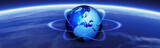 Globe and navigational tech header. poster