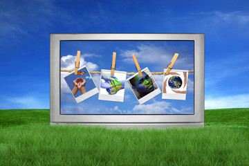 Large Screen Television Isolated Outdoors