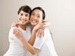 Happy, devoted friends hugging