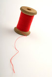coil of red color of strings on white background, close up.. poster