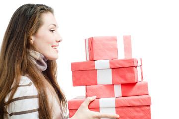 girl with Cristmass presents on white background