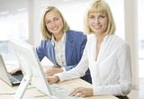 of two businesswomen sitting at the table poster