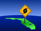 hurricane warning sign on Florida map illustration