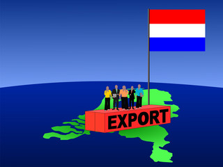 Dutch business team on export container with flag
