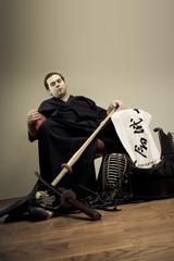 Kendo master portrait with sword - martial art concept