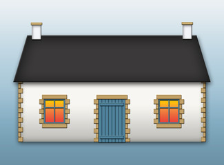 Casa bretone con finestre blu  e pietre