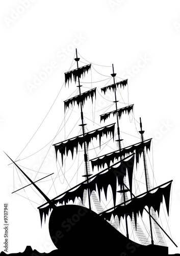 Black old ship at the sea ground