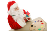 Santa Clause in his workshop, painting a toy.  Isolated poster