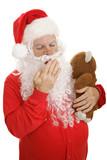 Santa in his pajamas with his teddy bear, giving a big yawn. poster