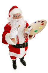 Santa Claus with artists paint palette and brush.  Full body
