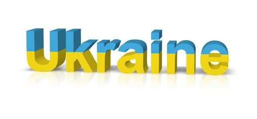 ukraine 3d text symbol reflektion