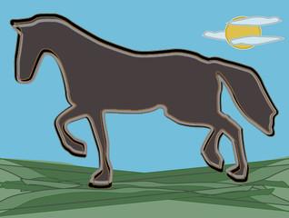 cavallo stilizzato su sfondo