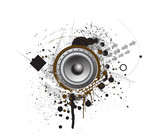 Grunge Party Speaker with white background