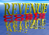 Big Revenue Small Costs Text with Reflection over Water Ocean