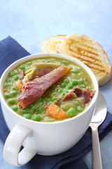 Pea and ham soup with crusty toasted sourdough bread.