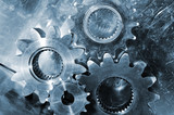 gears and cogs in blue poster