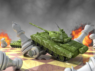 Tanks against chess: brute force against intelligence.
