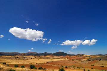 View of a typical Spanish field under the blue sky
