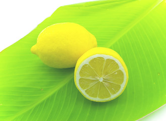 Lemons on green sheet