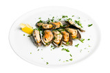 edible mussels with spicery poster
