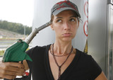 woman upset about increasing petrol prices poster