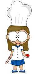 ragazza bambina cuoca con libro e mela