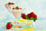 Yogurt with fresh fruits - low calorie eating poster