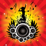 musical inspired image with radiating background and women poster