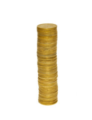 Stacks of golden coins isolated on white.