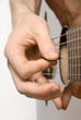 Picking the guitar