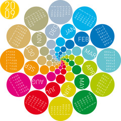 colorful and rotating calendar for 2009.