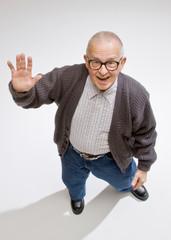 Friendly man waving a greeting