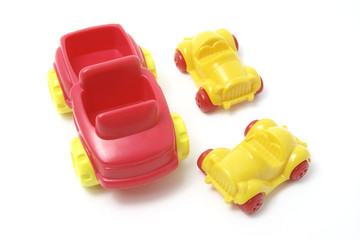 Plastic Toy Cars on White Background