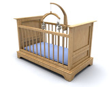 Cot for a baby boy with hanging teddy mobile poster