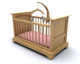 Cot for a baby girl with hanging teddy mobile poster