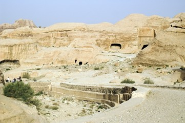 Tourist vacation in nabatean town Petra, beduins experience