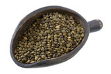 French green lentils on a primitive, wooden scoop, isolated poster