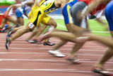 100 meters athletes in action with intentional blurring. poster