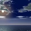 月明かりと海