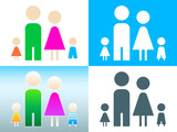 Four member family symbol in contour and colors poster