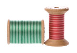 Isolated macro image of vintage embroidery threads. poster