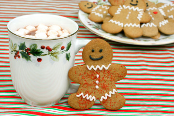 Gingerbread man cookie and hot chocolate