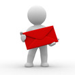 3d postman with big red envelope