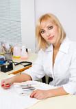beautiful blond manicurist at work. interior of nail salon. poster